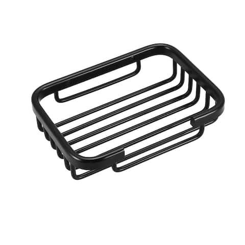 Soap Dish Holder Aluminum Wall Mounted Tray with Installation Kits - Black