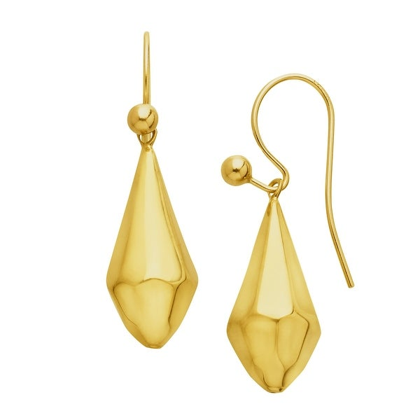Just Gold Faceted Drop Earrings in 10K Gold - YELLOW