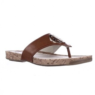 Rialto Calista Flat Thong Sandals - Cognac/Burn