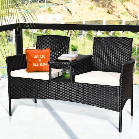 Costway Patio Rattan Conversation Set Seat Sofa Cushioned Loveseat