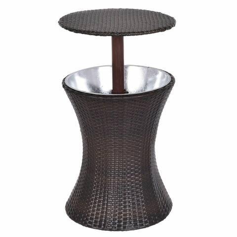Adjustable Outdoor Patio Rattan Ice Cooler - Brown