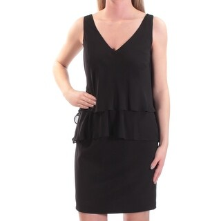 RALPH LAUREN Womens Black Sleeveless V Neck Above The Knee Layered Dress Petites Size: 2