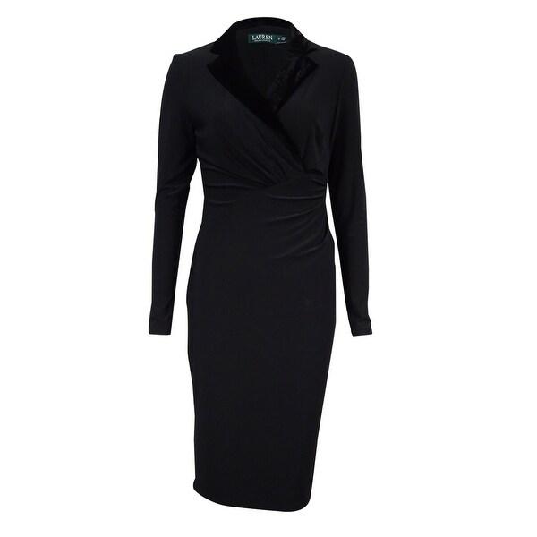Lauren Ralph Lauren Women's Velvet Collar Jersey Dress - Black