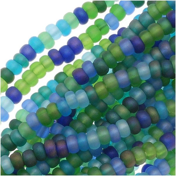 Czech Seed Beads Mix Lot 11/0 Oceanic Matte AB Blue Green