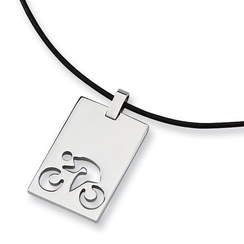 Chisel Polished Stainless Steel Cycling Necklace on 18 Inch Leather Cord (2 mm) - 18 in