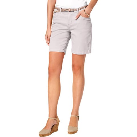 Lee Womens Petites Denim Shorts Bermuda Stretch