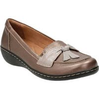 Clarks Women's Ashland Bubble Pewter Cow Full Grain Leather