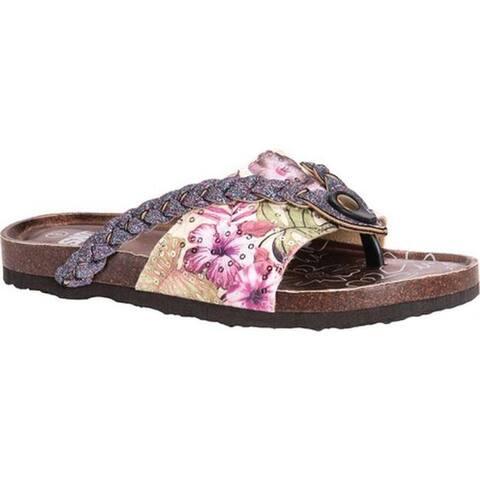 a412991ce91 MUK LUKS Women s Elaine Thong Sandal Pink Multi Polyester Polyurethane