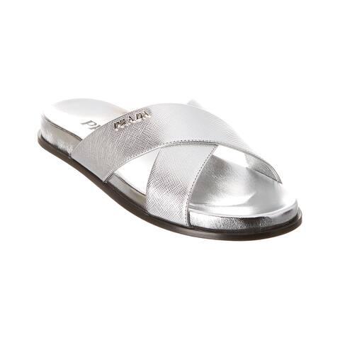 Prada Metallic Leather Slide - F0118