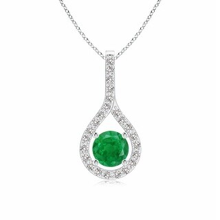 Angara Prong-Set Floating Emerald Drop Pendant with Diamond Accents