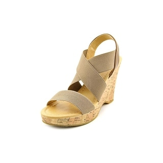 CL By Laundry Ivorine Open Toe Canvas Wedge Heel