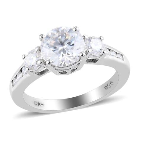 Platinum Over 925 Sterling Silver Moissanite Bridal Ring Ct 1.7