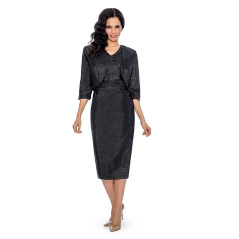 Giovanna Signature Women's 2-piece All-over Textured Crinkle with Embellishment Dress