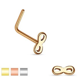 Infinity Top 316L Surgical Steel L Bend Nose Ring (Sold Individually) (3 options available)