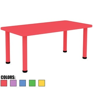 2xhome Adjustable Height Kids Plastic Activity Table Metal Leg Rectangle Desk Dining Bedroom Kitchen Toddler Child Preschool Red