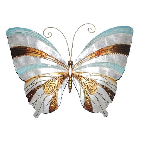 Wall Butterfly With Blue Pearl And Copper - 18 x 1 x 13