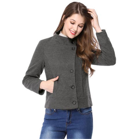 Women Stand Collar Single Breasted Worsted Coat - Dark Gray