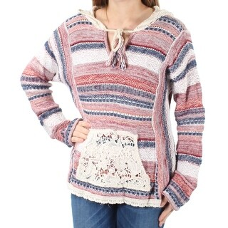AMERICAN RAG $70 Womens 1522 Red Striped Lace Hooded Long Sleeve Sweater M B+B