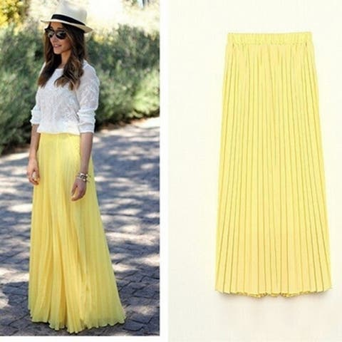 Feelingirl Plus Size Spring Summer Fashion Women Long Chiffon Skirts Female Candy Color Pleated Maxi Womens Skirts
