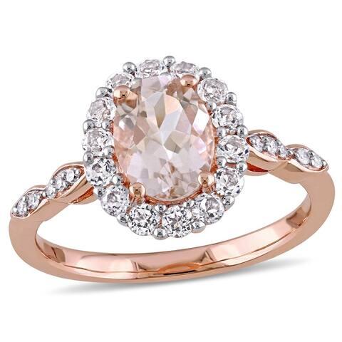 Miadora 14k Rose Gold Morganite and White Topaz and Diamond Halo Ring