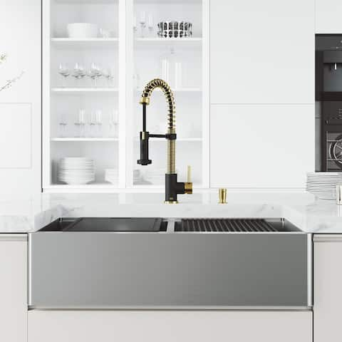 VIGO Double Bowl Kitchen Sink and Faucet in Matte Gold and Black