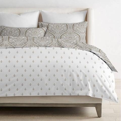 Delara GOTS Certified 100% Organic Cotton Paisley Reversible Print Duvet Cover and Sham Set of 2