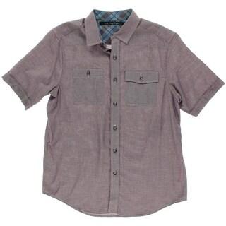 Sean John Mens Pindot Short Sleeves Button-Down Shirt - M
