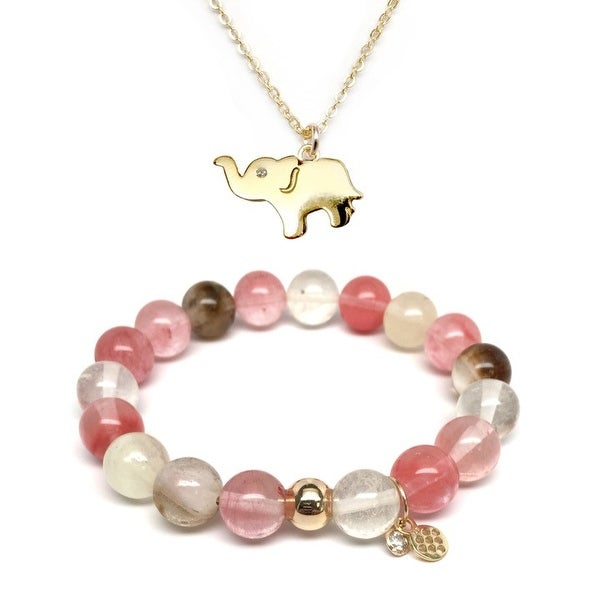 Pink Cherry Quartz Bracelet & CZ Elephant Gold Charm Necklace Set