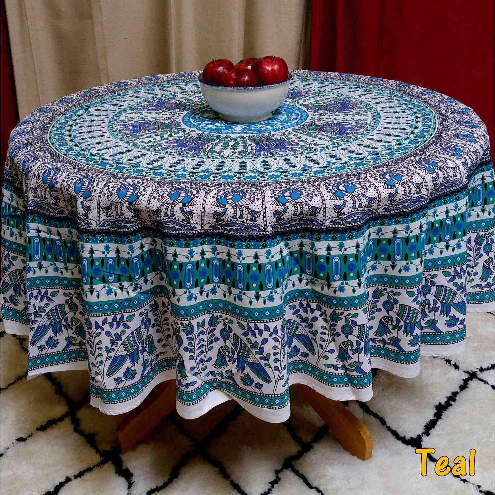 Thumbnail 11, Elephant and Peacock Print 100% Cotton Tablecloth Round 69 inches Blue Green Red Teal. Changes active main hero.