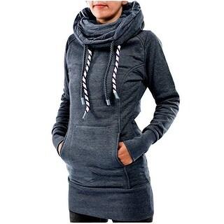 Women's Funnel Neck Kangaroo Pocket Hoodeds String Long Pullover Sweatshirts