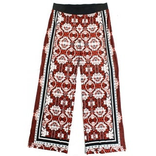 INC NEW Red Black Women's Size Large L Wide Leg Floral Printed Pants