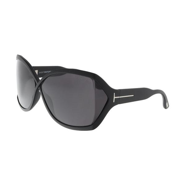 2c55f7770e Shop Tom Ford FT0427 02A JULIANNE Black Oval Sunglasses - 62-11-115 ...