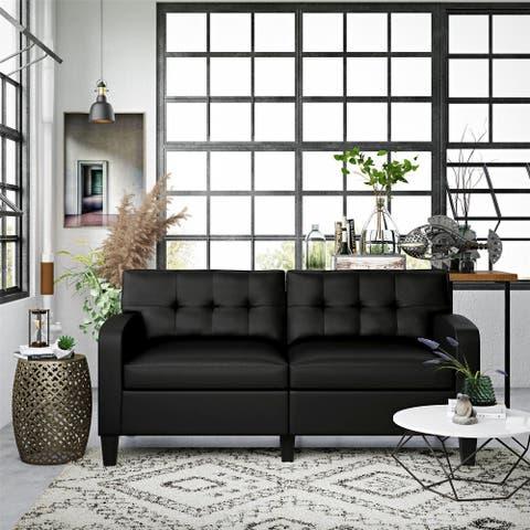 Dorel Living Zakari Black Small Space Modern Sofa Couch