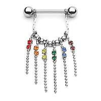 """Surgical Steel Gay Pride Nipple Shield with Gem and Chain Dangle - 14GA 5/8"""" Long (Sold Individually)"""