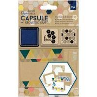 - Papermania Geometric Kraft Mini Cards & Stamps Set 15/Pkg