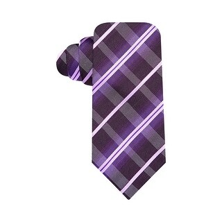 Alfani Spectrum Hand Made Electric Plaid Slim Silk Neck Tie Purple