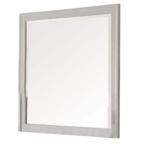 Modern Mirror with Rectangular Frame an Molded Details, White