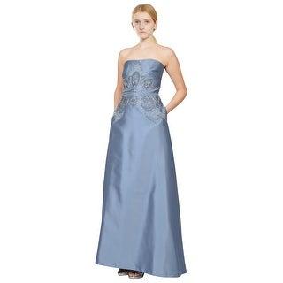Badgley Mischka Strapless Silky Twill Beaded Evening Gown Dress