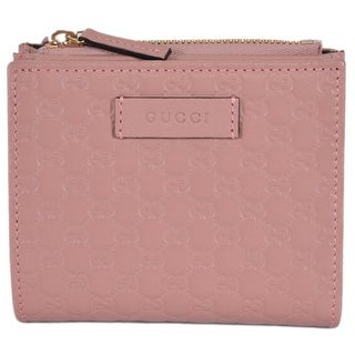 Gucci 510318 Pink Leather Micro GG Guccissima Card Case Bifold Small Wallet - 4.25 x 3.75 inches