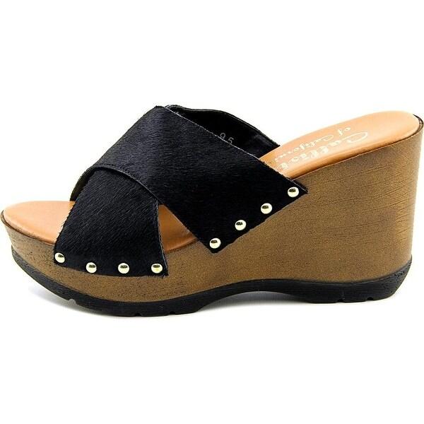 Callisto Womens SANTE Calf Hair Open Toe Casual Platform Sandals