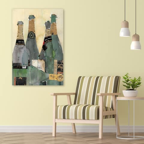 """Champagne Bottles 1"" Frameless Free Floating Tempered Glass Panel Graphic Wall Art Print 48 in. x 32 in."