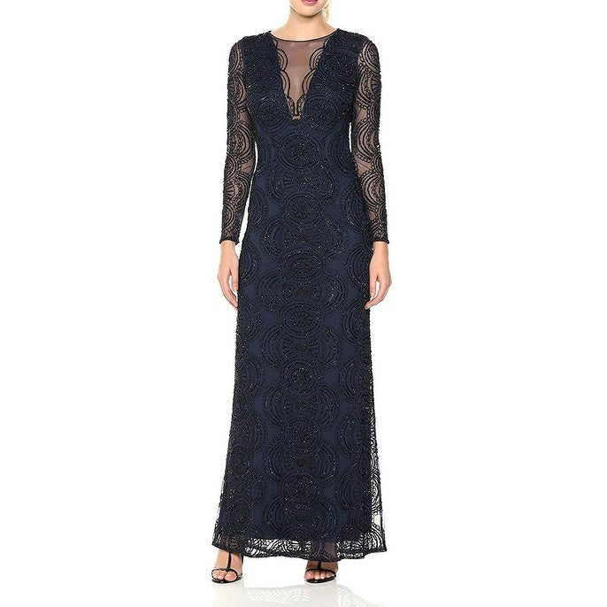 Aidan Mattox Womens Dress Blue Size 6 Gown Beaded Mesh Open-Back