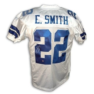 Autographed Emmitt Smith Dallas Cowboys White Reebok Authentic Jersey