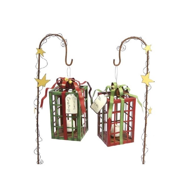 Set of 2 Country Rustic Christmas Gift Box Metal Tea Light Lanterns with Stakes