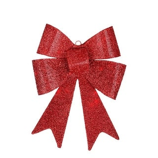 """17"""" LED Lighted Battery Operated Vibrant Red Bow Christmas Decoration - Warm Clear Lights"""