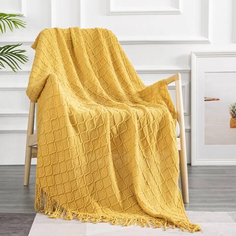 Topfinel Knitted Fringe Throw Blanket