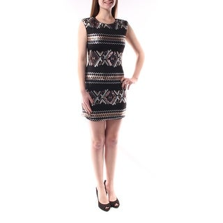 Womens Black Tribal Sleeveless Above The Knee Body Con Dress Size: M