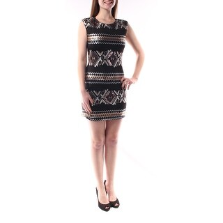 AS YOU WISH $232 New 1488 Black Tribal Boat Neck Sequined Dress Juniors M B+B