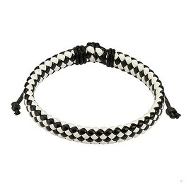 Black and White Diagonal Checker Weaved Leather Bracelet with Drawstrings (9 mm) - 7.5 in