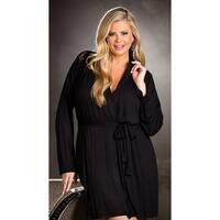 Plus Size Draping Robe Set - Black